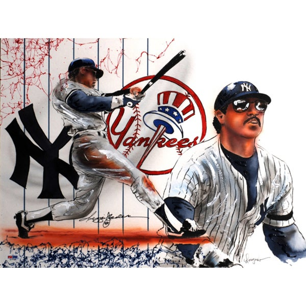 Gary Longordo Reggie Jackson Autographed Sports Memorabilia Painting