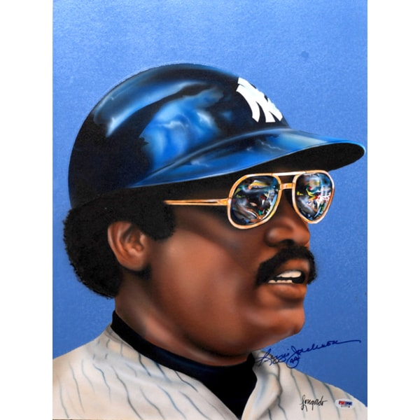 Reggie Jackson Autographed Sports Memorabilia Painting by Gary Longordo