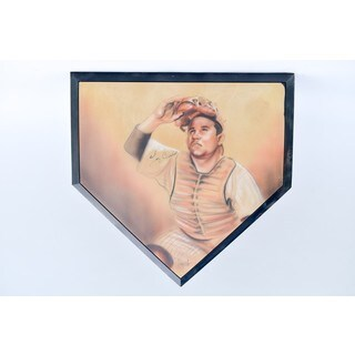 Yogi Berra Autographed Home Plate With Portrait