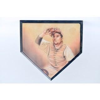 Yogi Berra Autographed Home Plate With Portrait