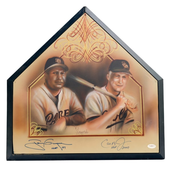 Tony Gwynn and Cal Ripken Autographed Home Plate with Portrait