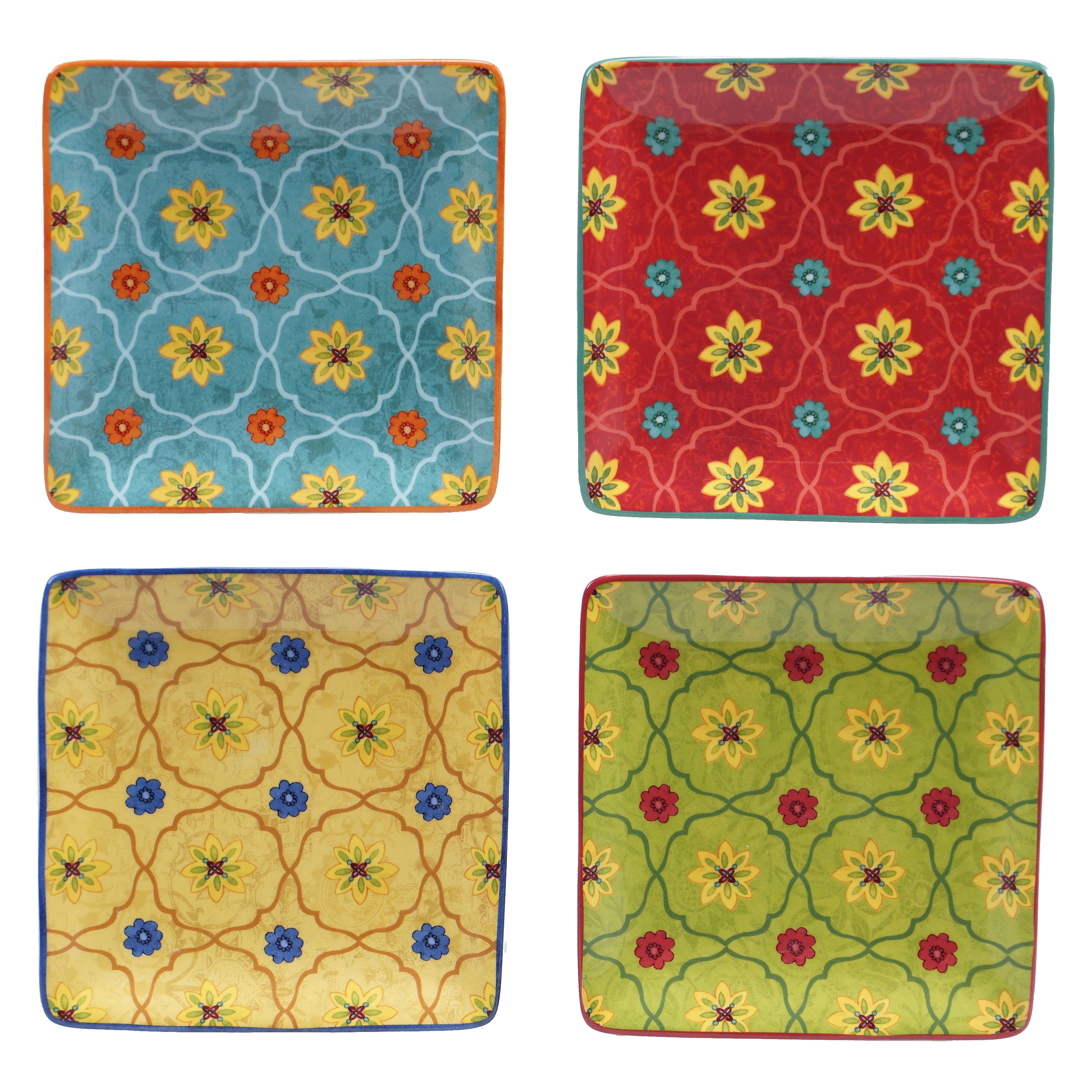 """Certified Intl Tunisian Sunset 6"""" Canape Plate (Set of 4)..."""