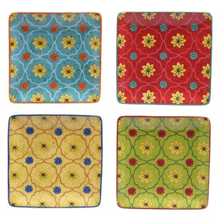 Certified International Tunisian Sunset 4-piece Floral Ceramic 6-inch Canape Plate Set