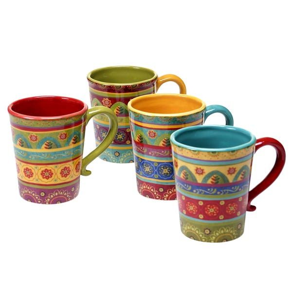 Certified International - Tunisian Sunset 18 oz. Mugs (Set of 4). Opens flyout.