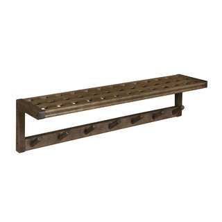 New Ridge Home Beaumont Solid Birch Wood Antique Chestnut Large Peg Rack with Shelf