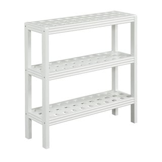 New Ridge Home Beaumont Solid Birch Wood White 3-shelf Console/ Shoe Rack