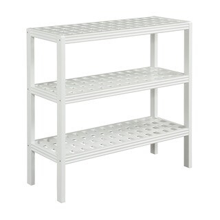 New Ridge Home Beaumont Solid Birch Wood Pure White 3-shelf Large Console