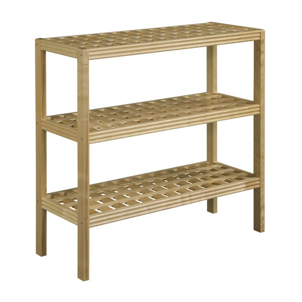 New Ridge Home Beaumont Solid Birch Wood Blonde 3 Shelf Large Console
