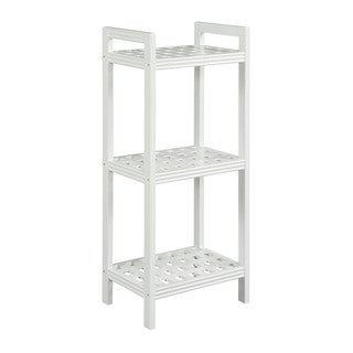 New Ridge Home Beaumont Solid Birch Wood White Shelf Tower