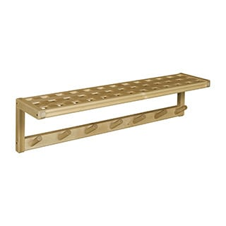 New Ridge Home Beaumont Solid Birch Wood Blonde Large Peg Rack with Shelf