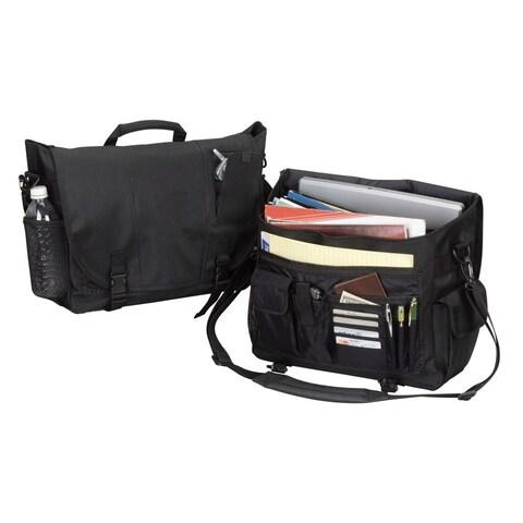 Goodhope Black Flapover 15-inch Laptop Messenger Bag