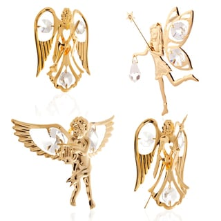 Matashi KTCT5 - 24K Gold Plated Angels and Fairies Collection Ornaments Made with Clear Genuine Matashi Crystals