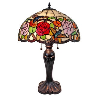 Amora Lighting AM101TL16 Tiffany Style Hummingbird Table Lamp 24 In