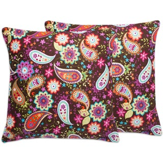 Brown Floral Paisley 18-inch Throw Pillows (Set of 2)