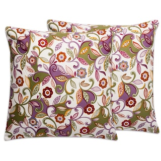 Beige Floral Paisley 18-inch Throw Pillows (Set of 2)
