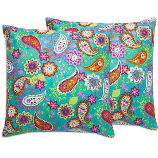 Aqua Floral Paisley 18-inch Throw Pillows (Set of 2)