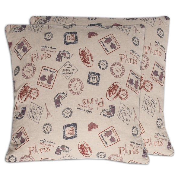 Paris Cafe Stamps Cotton Canvas Print 18-inch Throw Pillows (Set of 2)