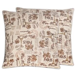 Paris Floral Mason De Contentieux Cotton Canvas 18-inch Throw Pillows (Set of 2)