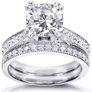 Link to Annello by Kobelli 14k White Gold 2 1/3ct TGW Cushion Forever One DEF Moissanite and Diamond Antique Bridal Set Similar Items in Rings
