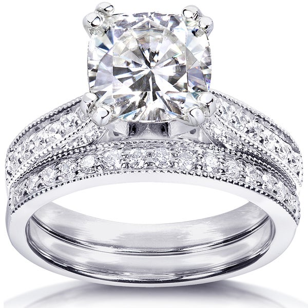 Annello by Kobelli 14k White Gold 2 1/3ct TGW Cushion Forever One DEF Moissanite and Diamond Antique Bridal Set. Opens flyout.