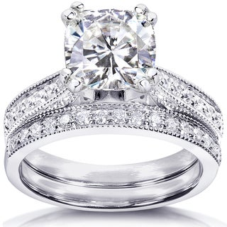 Annello by Kobelli 14k White Gold Forever One 2ct Cushion Moissanite and 1/3ct TDW Diamond Ring (G-H, I1-I2)