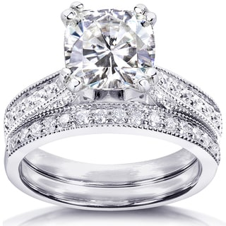 Annello by Kobelli 14k White Gold 2 1/3ct TGW Cushion Forever One DEF Moissanite and Diamond Antique Bridal Set