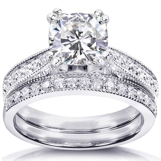 Annello by Kobelli 14k Gold Forever One 1 1/10ct Cushion Moissanite and 1/3ct TDW Diamond Bridal Set
