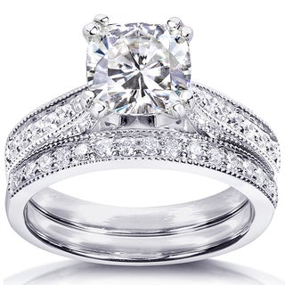 Annello by Kobelli 14k White Gold 1 2/5ct TGW Cushion Forever One DEF Moissanite and Diamond Antique Bridal Set