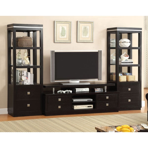 Charmant Furniture Of America Bausley Modern Black 3 Piece Entertainment Unit Set