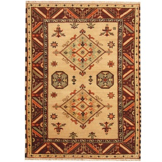 Herat Oriental Indo Hand-knotted Tribal Kazak Wool Rug (4'10 x 6'5)