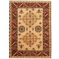 Herat Oriental Indo Hand-knotted Tribal Kazak Wool Rug - 4'10 x 6'5