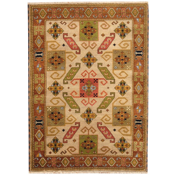 Herat Oriental Indo Hand-knotted Tribal Kazak Wool Rug (4'8 x 6'7) - 4'8 x 6'7