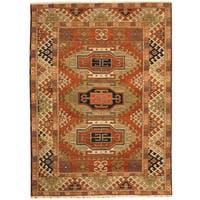 Herat Oriental Indo Hand-knotted Tribal Kazak Wool Rug (4'10 x 6'7) - 4'10 x 6'7