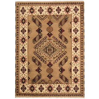 Herat Oriental Indo Hand-knotted Tribal Kazak Gray / Ivory Wool Rug (4'10 x 6'7)