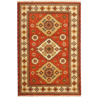 Herat Oriental Indo Hand-knotted Tribal Kazak Red/ Ivory Wool Rug (4' x 6')