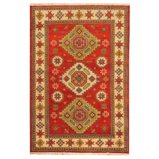 Handmade One-of-a-Kind Kazak Wool Rug (India) - 4' x 6'