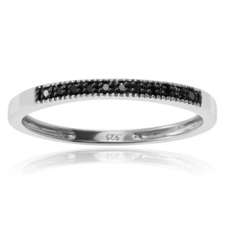 Journee Collection Sterling Silver Black Diamond Accent Round-cut Band