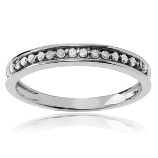 Journee Collection Sterling Silver 1/6 ct Diamond Channel-set Wedding Band