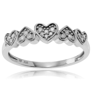 Journee Collection Sterling Silver 1/5 ct Diamond Heart Shaped Pave-set Ring