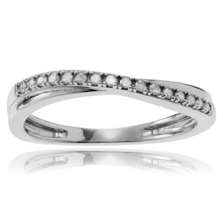 Journee Collection Sterling Silver 1/6 ct Diamond Pave-set Wedding Band