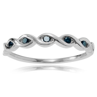 Journee Collection Sterling Silver 1/10 ct Blue Diamond Band