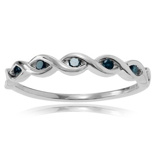 Journee Collection Sterling Silver Blue Diamond Accent Thin Twist Ring