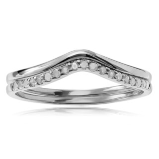 Journee Collection Sterling Silver 1/5 ct Diamond Chevron 2-piece Ring