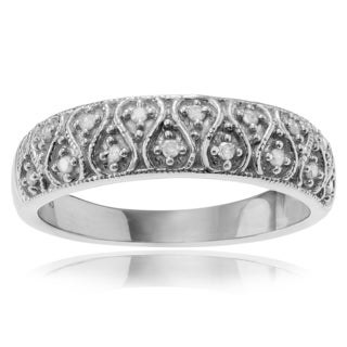 Journee Collection Sterling Silver 1/6 ct Diamond Pave-set Ring