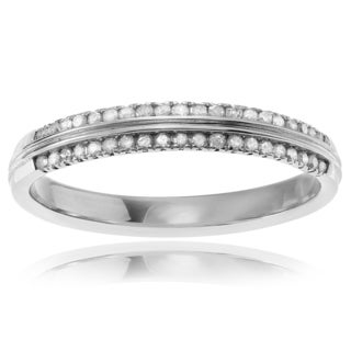Journee Collection Sterling Silver 2/5 ct Diamond Pave Wedding Band
