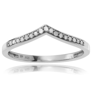 Journee Collection Sterling Silver 1/6 ct Diamond Curved Wedding Band