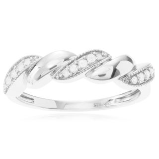 Journee Collection Sterling Silver 1/6 ct Diamond Rope Twist Ring