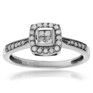 Journee Collection Sterling Silver 1/3 ct Diamond Square Halo Wedding Ring