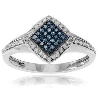 Journee Collection Sterling Silver 5/8 ct Blue and White Diamond Square Ring