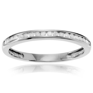 Journee Collection Sterling Silver 1/5 ct Diamond Channel-set Wedding Band